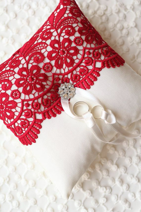 Ring Bearer Pillow Cushion Linen Pillow Guipure by madebydemet, $55.00