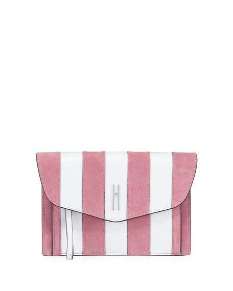 H. Purse.Bobby Striped Clutch Bag, White/Pink