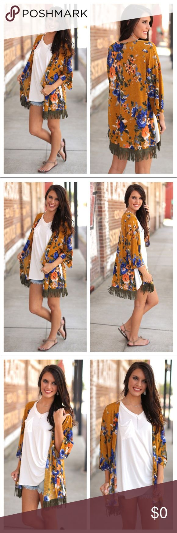 COMING SOON! Boho Chic Floral Fringe Kimono S,M,L Boho chick Floral fringe Kimono!!  NWT yellow & green Floral print  COMING SOON  SIZE S, M, L Sweaters Cardigans
