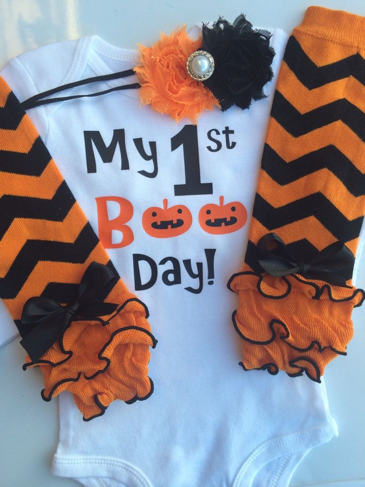 Baby Girl 1st Halloween Outfit - Halloween baby costume outfit - my first boo day - personalized baby outfit - halloween legwarmers by AboutASprout on Etsy https://www.etsy.com/listing/191662131/baby-girl-1st-halloween-outfit-halloween