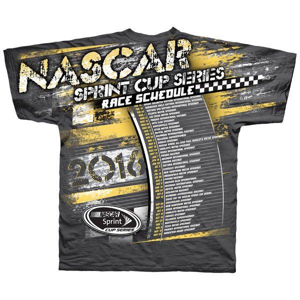 NASCAR Checkered Flag 2016 Schedule T-Shirt - Charcoal - $23.99