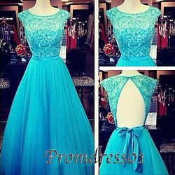 Elegant lake blue tulle long prom dresses with bow