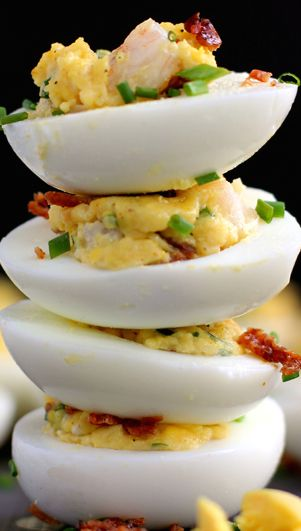 Shrimp and bacon stuffed deviled eggs recipe bacon an for Table 52 deviled eggs recipe