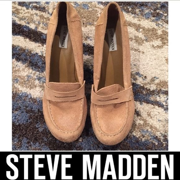 Steve Madden Tan Suede Platform Wedge Loafers Steve Madden Tan Suede Platform Wedge Loafers. Wedge heel height is 4 inches. Platform is half an inch. New without tags. Never worn. Leather (suede) upper, man made bottom. Feel free to make a reasonable offer. Steve Madden Shoes Wedges