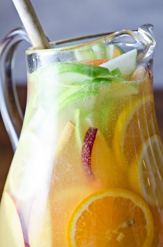 White Sangria....must try!!! Apples, oranges, pineapple juice, peach schnapps