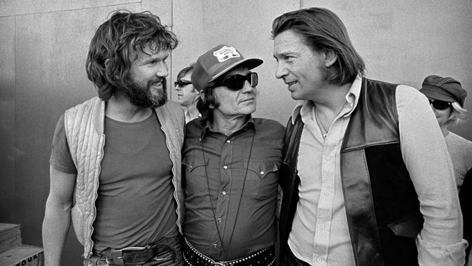 Kris Kristofferson, Willie Nelson, and Waylon Jennings at the Dripping Springs Reunion in 1972    Photo by Jim Marshall