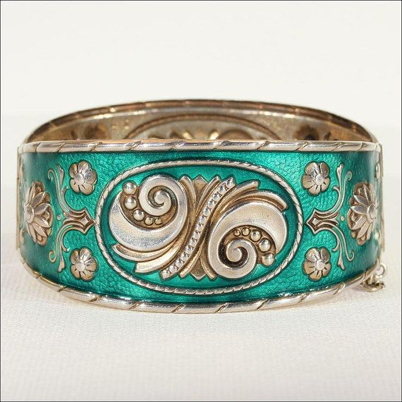 Midcentury Modern Green Enamel Bangle Bracelet by VictoriaSterling