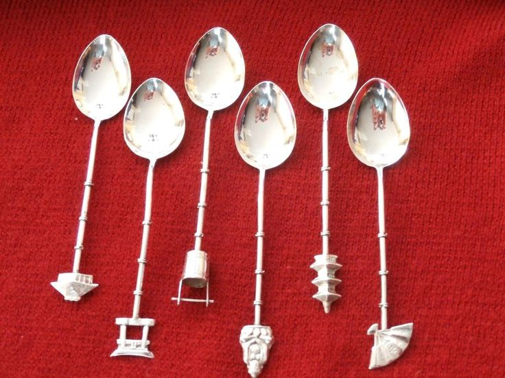DEMITASSE SPOONS Sterling Silver BAMBOO Stems SAKAI JAPAN Set of 6. Perfect gift for a special person, yourself included!