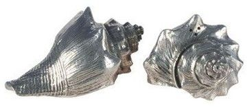 Pewter Shell Salt and Pepper Shakers - eclectic - serving utensils - Bonanza