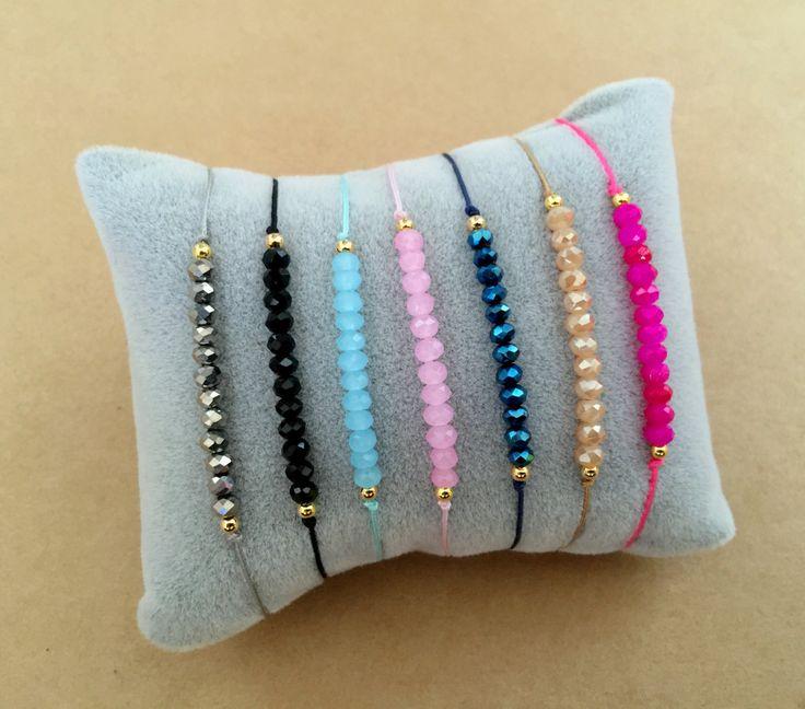 Minimal Bracelet d'amitié en macramé Perle Cristal à