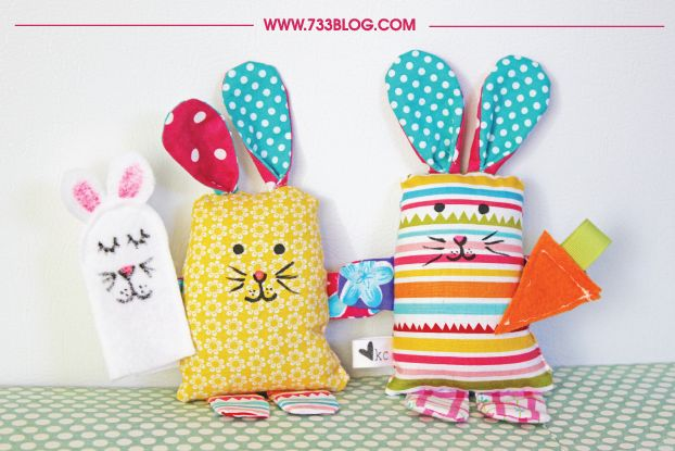 Use up all those scrap fabrics with this easy and adorable Scrap Fabric Bunny Softie Pattern!