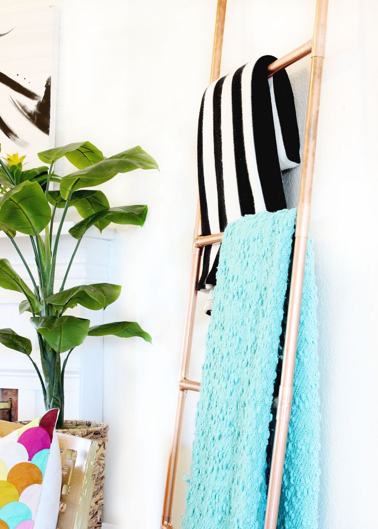 DIY Copper Ladder - Perfect for extra space to hang towels or clothes!
