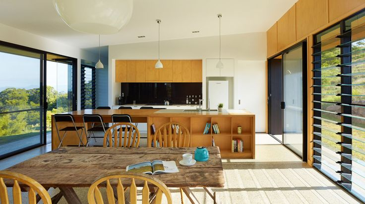 Kitchen is integrated into entertaining area