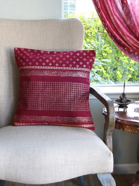 The Maharanis Rubies (c) ~ Red and Gold Sari Throw Cushion Cover. I love this color its sooo rich!
