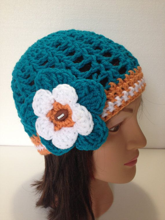 Miami Dolphins Hat Crochet Football HatWomens by BiziKnitting4You