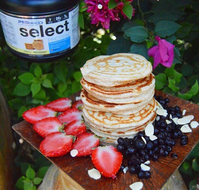 Snickerdoodle Protein Pancakes. INGREDIENTS: 1/4 cup of whole wheat flour or flour of choice, 1 tsp of baking powder, Stevia or any other sweetener to taste (in powdered version use about 1 tbsp or for drops use about 5 drops), 2-3 tbsp of nonfat plain greek yogurt (if vegan use any other non dairy yogurt of choice), 2 large egg whites (vegans can use a flax egg), 1/2 scoop of Select Snickerdoodle Protein powder. ENJOY!