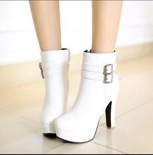 Otoño e invierno nuevos tacones súper altos sexy tubo corto cremallera lateral botas cortas con zapatos impermeables Martin botas(China (Mainland))