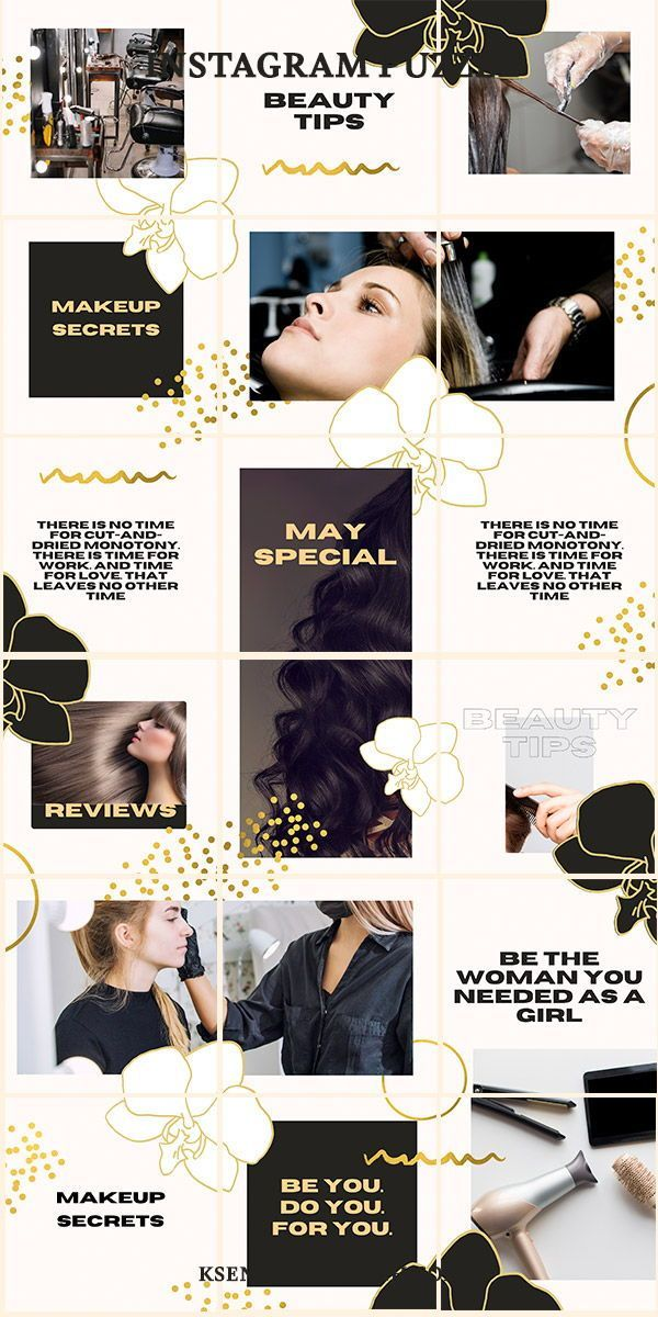 Hairstylist Gold Instagram Puzzle Grid Feed Template Layout In 2021 Salon Marketing Social Media Beauty Salon Marketing Hair Salon Marketing