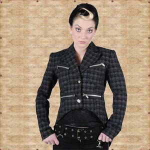 Rows of grey skulls go marching across this black military cut swallow tail jacket. Bright buttons and zippers contrast perfectly with the subtle print on this ladies skull jacket. The Black Swallow Tail Jacket With Grey Skulls by Queen of Darkness in the Skulls and Dragons clothing range.    Ref : SDJA110008   Price : 24.99 GBP