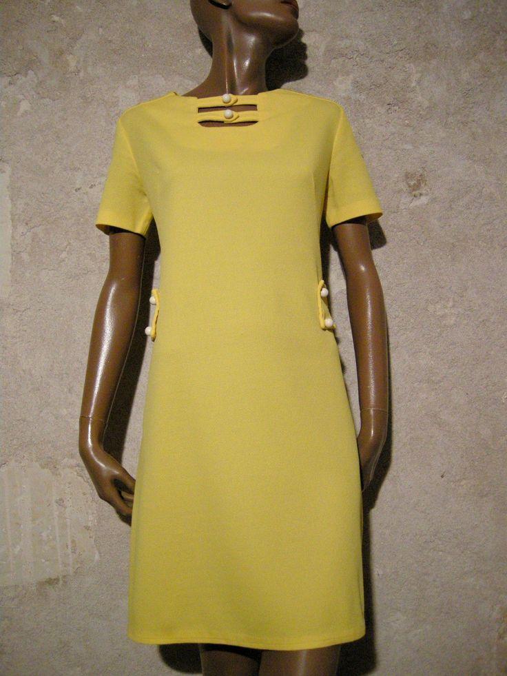 Chic Vintage Robe 1970 VTG Dress 1970'S Kleid 70ER Abito Anni 70 Retro 38 40 | eBay