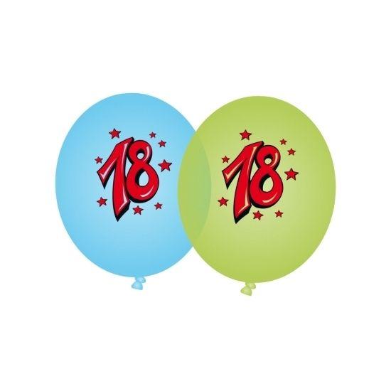 Blauwe en groene ballonnen 18 jaar. 4 blauwe en 4 groene ballonnen met 18 opdruk. Omvang opgeblazen ballon: 90 cm.
