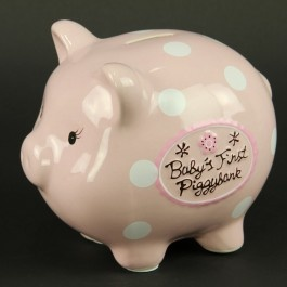 "8""CERAMIC PIGGY BANK PINK, ours is filling up nicely!"