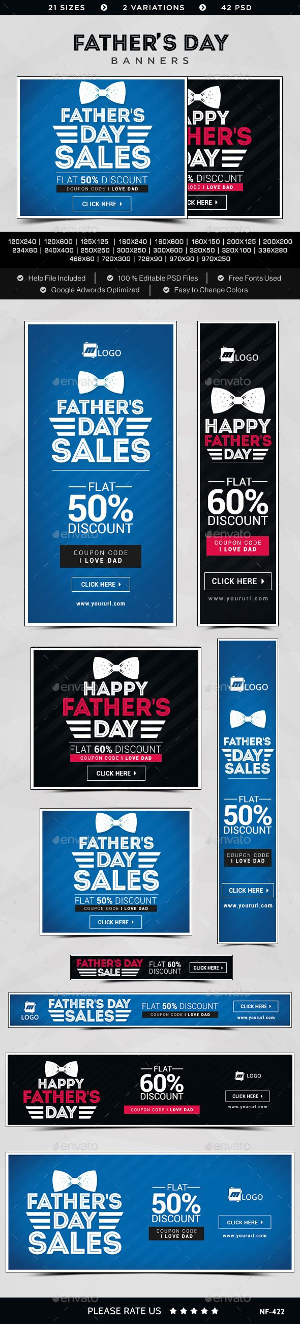 Father's Day Sale Banners Template #design Download: http://graphicriver.net/item/fathers-day-sale-banners/11741795?ref=ksioks