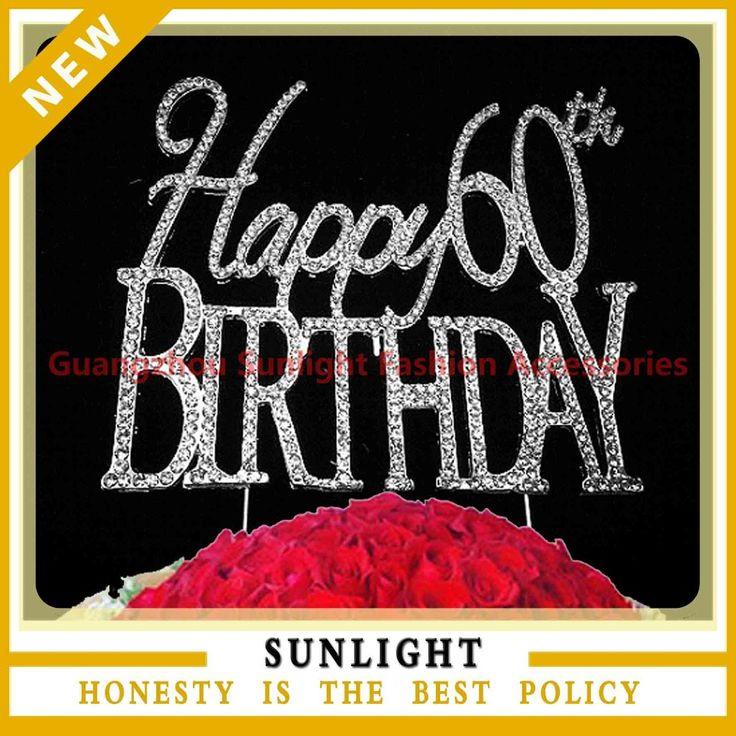 Top sale Happy 60th Birthday rhinestone cake topper for birthday souvenirs birthday party cake decoration
