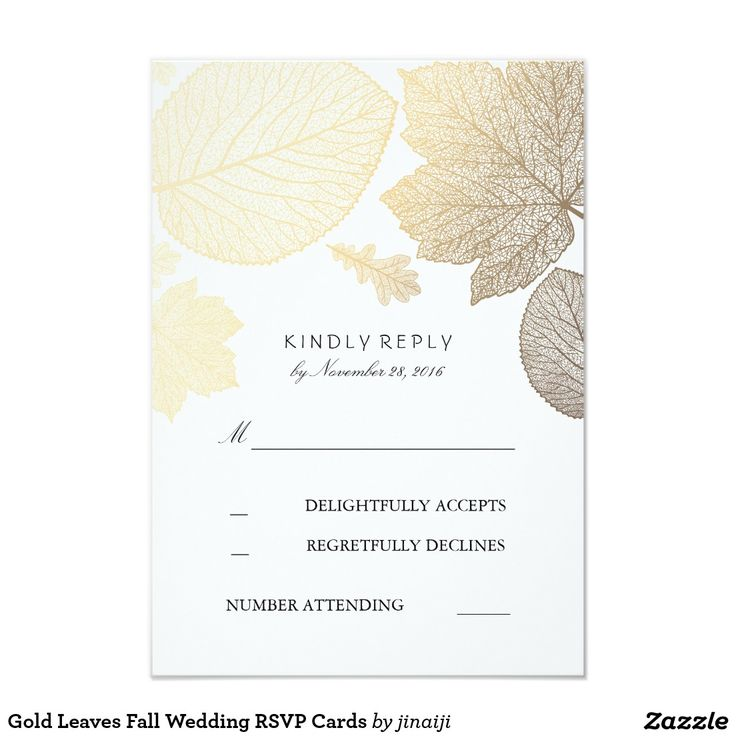 Gold Leaves Fall Wedding RSVP Cards Gold fall leaves elegant wedding reply cards with black text