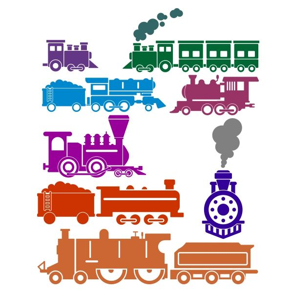 Train Pack Cuttable Design Cut File. Vector, Clipart, Digital Scrapbooking Download, Available in JPEG, PDF, EPS, DXF and SVG. Works with Cricut, Design Space, Cuts A Lot, Make the Cut!, Inkscape, CorelDraw, Adobe Illustrator, Silhouette Cameo, Brother ScanNCut and other software.