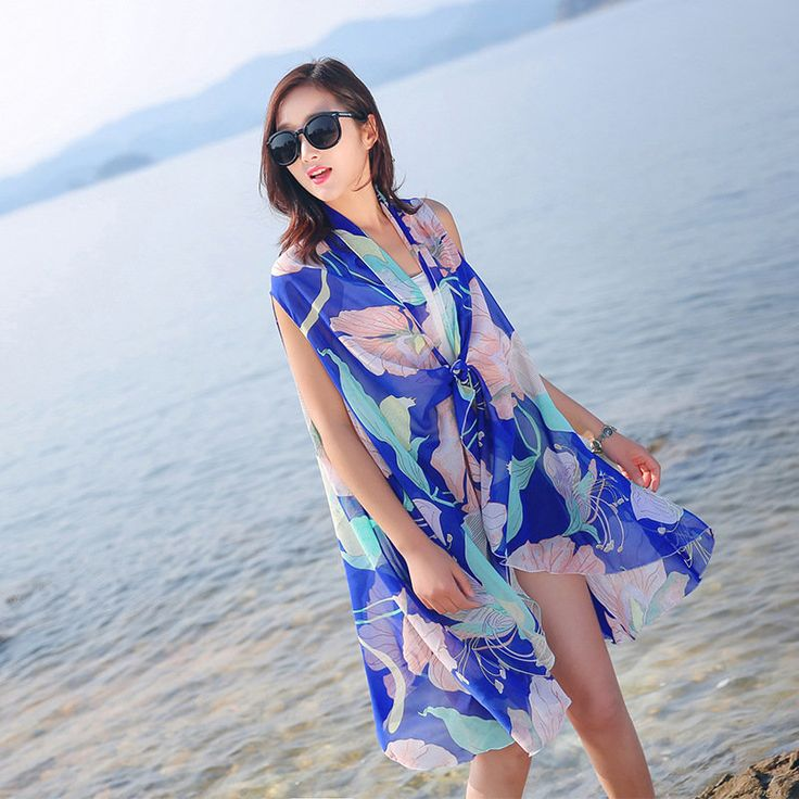 Women Spring Summer Flower Printing Beach Towel Royal Blue Sunscreen Chiffon Scarves Shawls