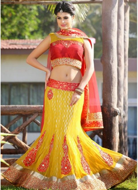 Gleaming Yellow Color Net Based #Lehenga #Choli