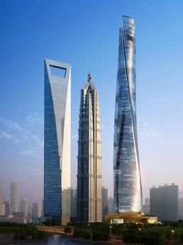 Shanghai World Financial Center (left),  Jin Mao Tower (center) and Shanghai Tower. #architecture ☮k☮
