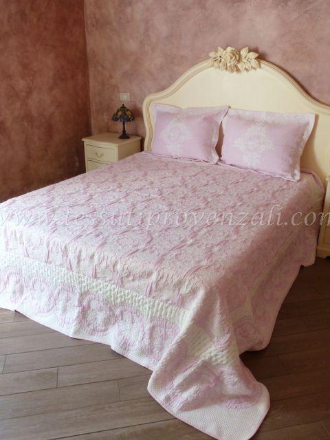 """Copriletto matrimoniale reversibile shabby chic con federe serie """"Toile de France"""" - variante rosa quarzo -"""