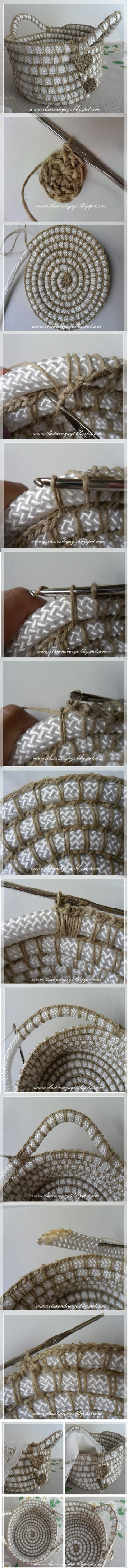 Crochet and Rope Basket - Tutorial ❥ 4U // hf