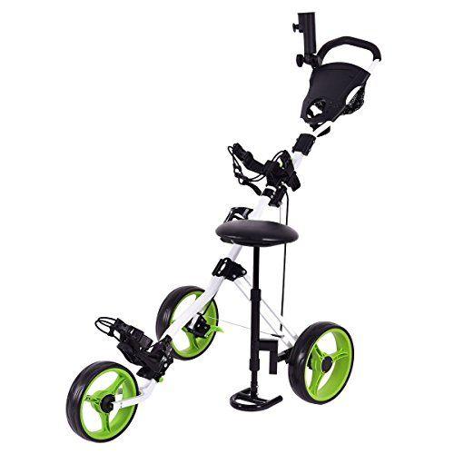 Tangkula Swivel 3 Wheel Push Pull Cart Golf Trolley with Seat Scoreboard Bag