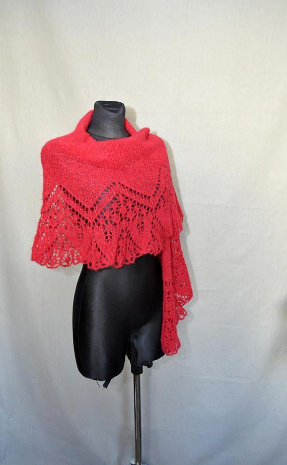 Red Hand Knit Lace Shawl Grenadine Knit Lace Shawl #knitshawl #laceshawl #crochetscarf, #redshawl,