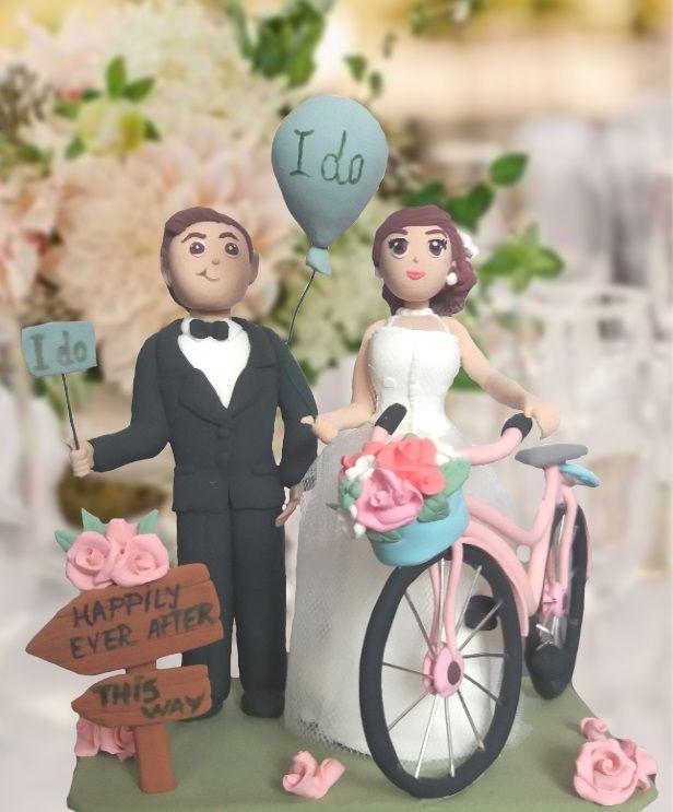 Sa modelam: Figurina pentru tort handmade, shabby chic, cu bicicleta