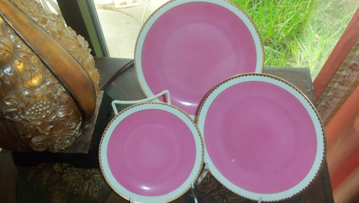 Vintage Victoria Czechoslovakia Dinnerware Set/ 18 Pieces In Pink With Gold Trim/ Wedding Gift / Entertaining/ Dinner Party by StyleJunkieAntiques on Etsy