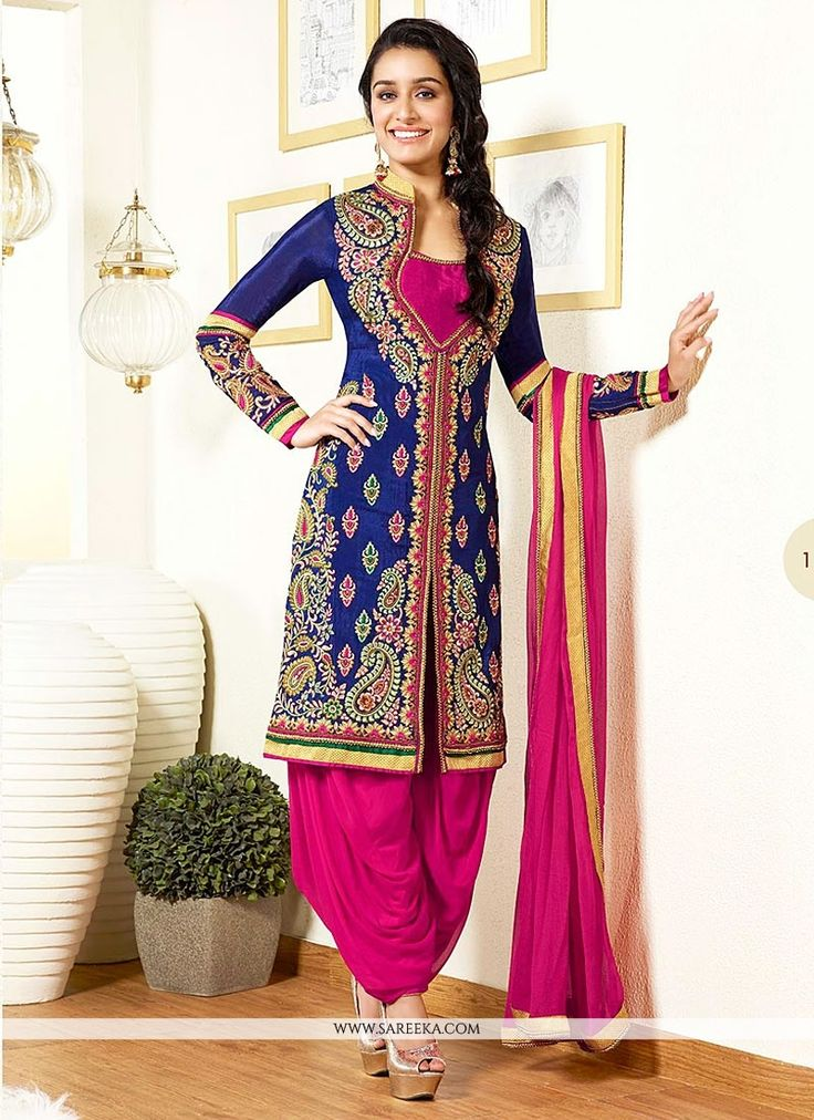 Shraddha Kapoor Blue And Pink Embroidery Work Patiala Suit