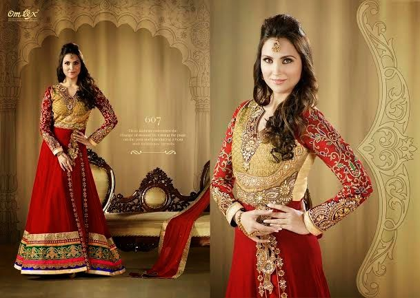 OFM-OMLARA-607 Ethnic Red and Beige Long Anarkali with Raw Silk Yoke, Georgette & Net Kameez with santoon Bottom & inner. Heavy Thread, Jari and Stone Work makes it more beautiful. Chiffon dupatta included.
