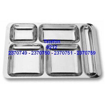 Çelik Servis Tepsisi : Paslanmaz çelik yemek servis tepsileri bölümündeki bu self servis yemek tepsisi fabrikalarda askeriyelerde yemek dağıtımı yemek servisi için kullanılan çelik yemek servis tepsisidir. Çelik yemek servis tepsisi satışı için arayınız 0212 2370749