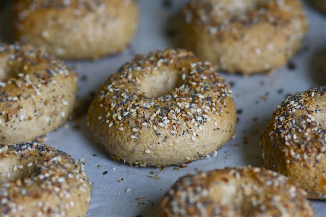 Whole Wheat Bagel Recipe plus for toppings mix 4 tsp each of dried garlic, dried onion, poppy seeds and sesame seeds and 2 tsp kosher salt in a bowl.  Then paint on the egg wash (1 egg white and 1T water) and sprinkle on toppings before baking.