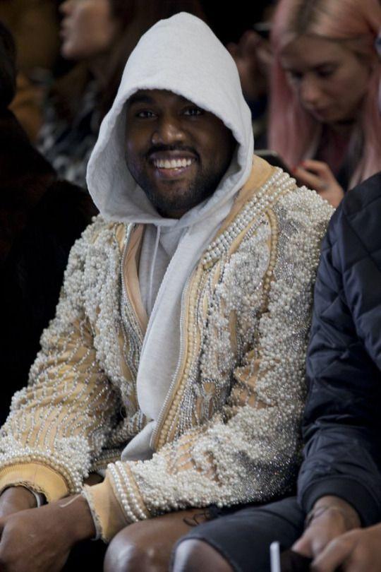 Kanye West at the Balmain show