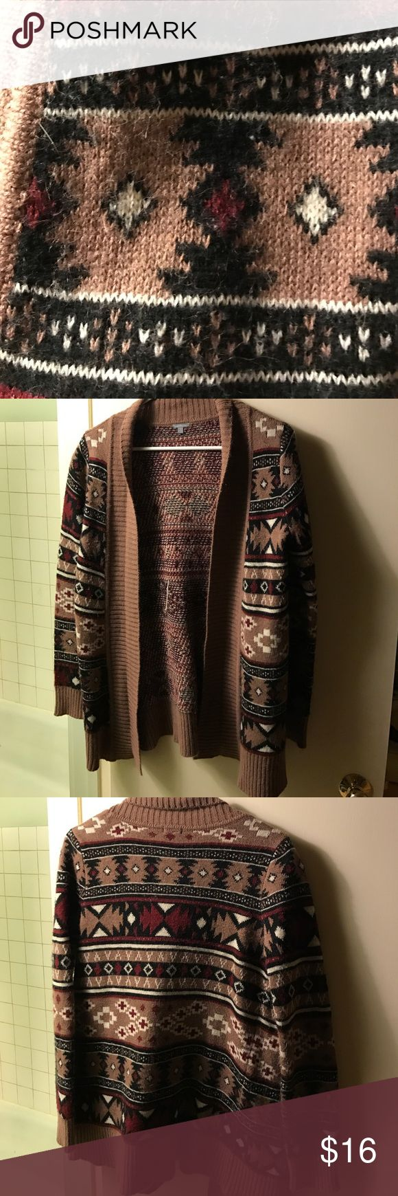 Maroon brown and Black tribal cardigan sweater Maroon Brown and Black tribal cardigan Charlotte Russe Sweaters Cardigans