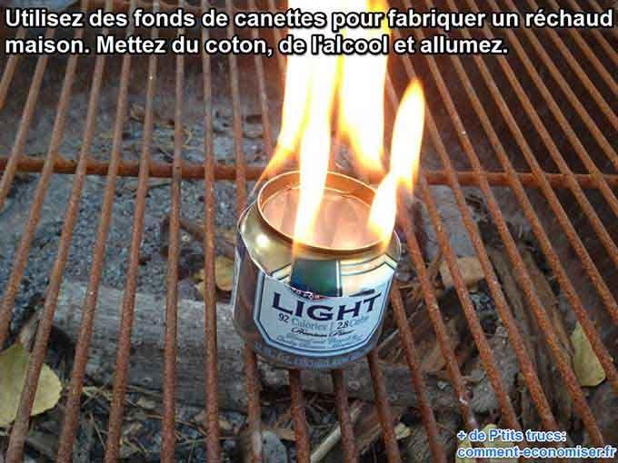 Pas de panique ! Il suffit simplement d'un peu d'huile de coude pour fabriquer un réchaud en 5 minutes.  Découvrez l'astuce ici : http://www.comment-economiser.fr/astuce-camping-pour-faire-un-rechaud-avec-une-canette.html