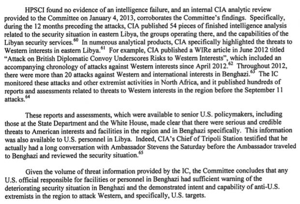 HPSCI Investigative Report on the Terrorist Attacks on U.S. Facilities in Benghazi, Libya, September 11-12, 2012 pg. 13.  Benghazi report - what do you think about this recent report?