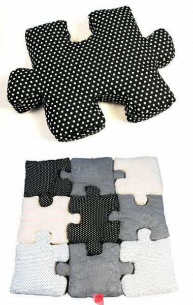 Wow! Super clever DIY sewing jigsaw puzzle cushions pillows! Great for children's play room or games room!
