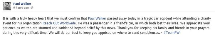 Fast and Furious - Paul Walker death notification