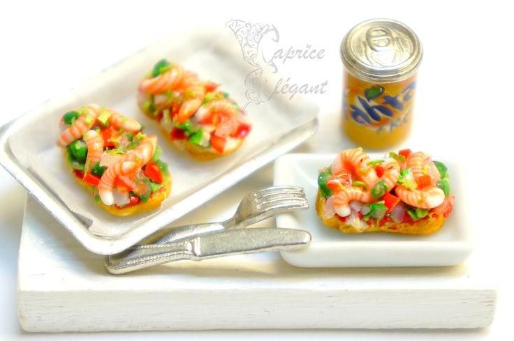 Miniature Food Tartine de Crevettes en pâte polymère par Tania Villard Hirsig